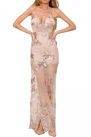 Elegant Split V Neck Sequin Maxi Dress Spaghetti Straps