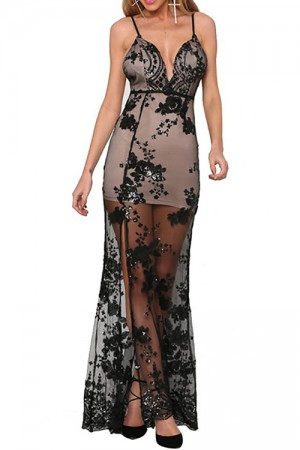 Evening Party Backless Mesh Black Sequin Maxi Dress