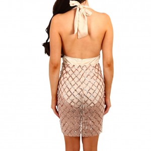 Sassy Deep V Lace Up Sleeveless Champagne Sequin Dress