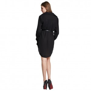 Classic Minimalist Shirt Dress Black Casual Mini Length