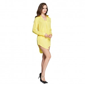 Utility Yellow Long Sleeve Blouse Dress V Neckline