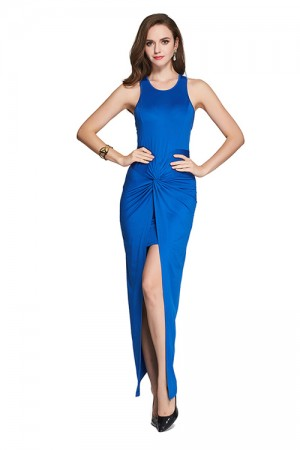 Chic Structured Thigh High Split Blue Wrap Dress Maxi