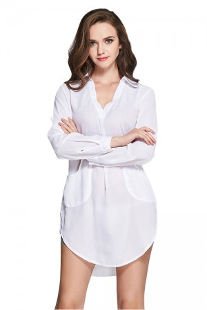 Seductive Full Sleeves Shirt Dress White Two Pockets