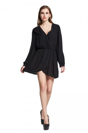 Slouchy Pure Black Long Sleeve Shirt Dress Elastic Waist