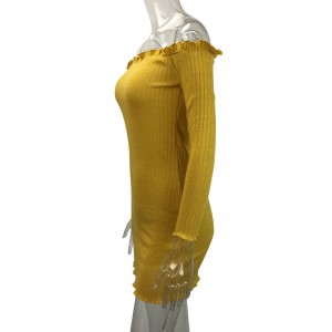 Stretchable Ribbed Yellow Strapless Mini Dress Frilled