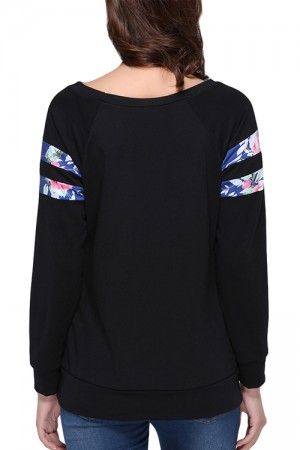 Casual Black Pullover Striped Floral Print Sweatshirt Long Sleeve