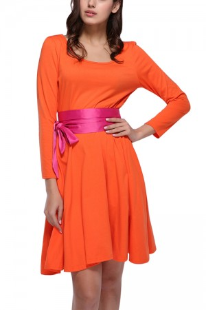 Structured Autumn Orange Shift Dress Long Sleeves Round Neck