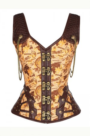 Yellow Brass Hooks Corset Vest Lace Up Back 12 Steel Bones