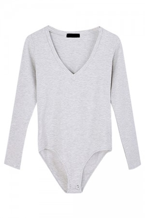 Enchanting Light Grey Long Sleeve Bodysuit Plunging Neck