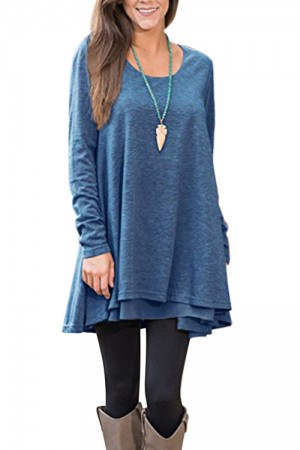 Lightsome Fabric Flowy Autumn Blue Loose Fit T-Shirt Long Sleeves