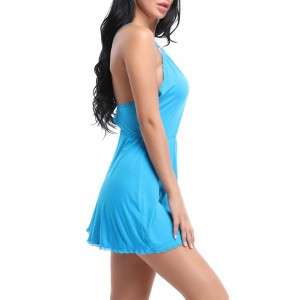 Temptation Blue Adjustable Straps Chemises Nightdress Backless