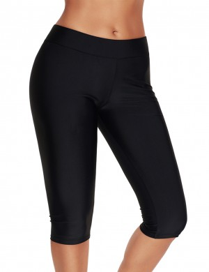 Tight Black Large Swimming Pants Knee Length Elastic Waistband