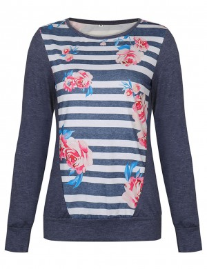 Blue Patchwork Floral Pattern T-Shirt Long Sleeves Lightweight