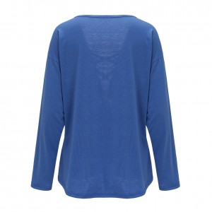 Sheerly Blue Tie Front Blouse Long Sleeve Plunge Neckline