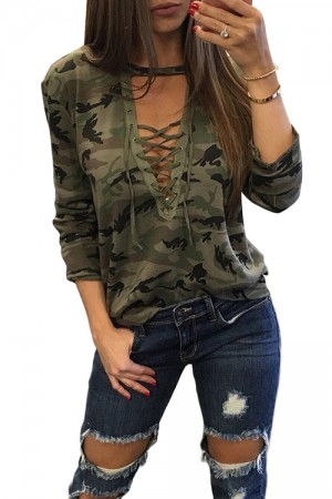 Loose Army Green Camo Lace Up Top Fitted Blouse Long Sleeve