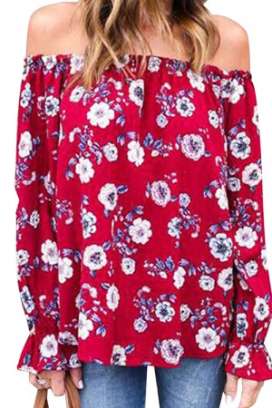 Sweet Red Floral Slash Neck Printed Blouse Full Sleeve