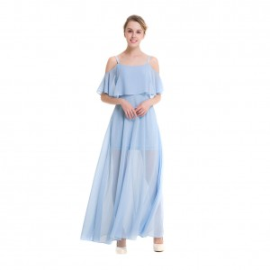 Casual Plus Chiffon Pleated Maxi Dress Spaghetti Straps