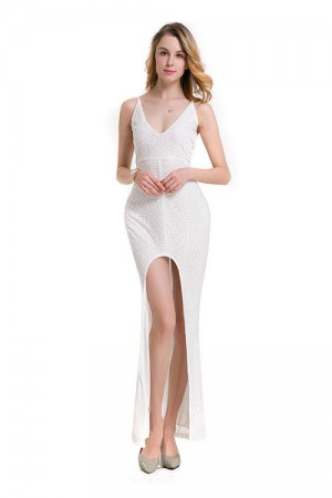 Curvy Evening White Lace Front Split Maxi Dress Cross Back