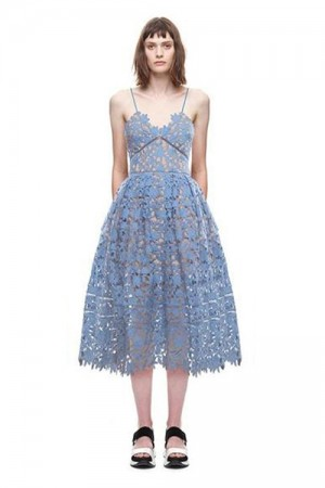 Sheerly Guipure Lace Dress Blue Plunging Spaghetti Straps