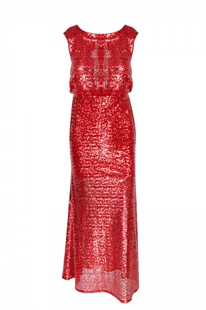 Magnificent Long Red Sequin Dress Jewel Neck Back Mesh