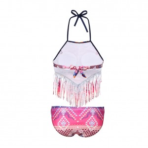 Contrast Geo Print Tassel Padded Halter Top Bathing Suits