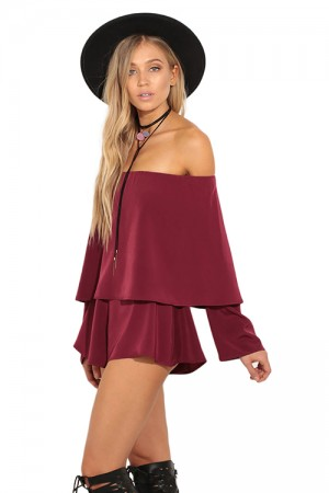 Ravishingly Wine Red Off Shoulder Long Sleeve Pants Jumpsuit