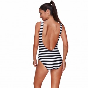 Flattering Plus Size Striped One Piece Swimsuit U Backless