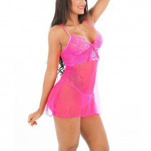 Glamorous Triangle Cups Pink Lace Chemise Adjustable Straps