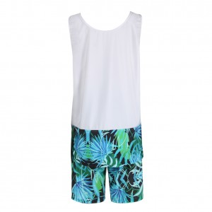 Casual Tropical Beach Leaves Printing Two Piece Sweat Suit