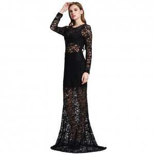 Sheer Lace Black Formal Evening Gown Dress Lace Up Back