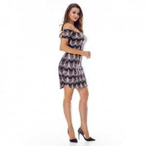 Fabulously Off The Shoulder Scalloped Sequin Dress Bodycon