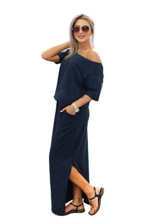 Casual Round Neck Long Blue Slit Dress Short Sleeve