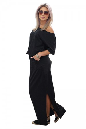 Lose Short Sleeve Black Slit Maxi Dress Pocket Decor