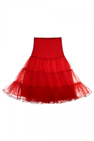 Utility Ruffles Red Crinoline Skirt Pleated Net High Waist