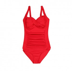 Splendor Large Underwire Red Ruched Swimsuit One Piece