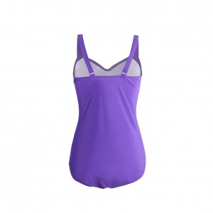 Sweetheart Purple Plus Size Ruched Swimsuit Thick Straps