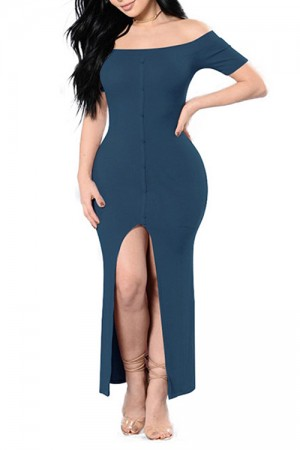 Elastic Blue Slash Neck Dress With Split Front Buttons