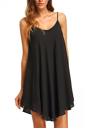 Slip Black Chiffon Casual Open Back Dress Spaghetti Strap