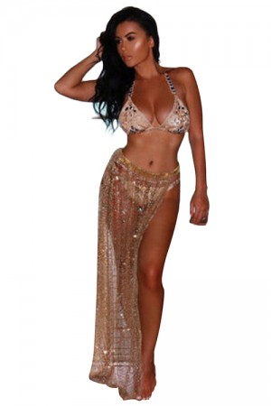 See Through Gold Sequin Split Beach Bottom Cover Ups