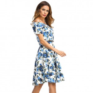 Gorgeous Flower Short Sleeve Sweetheart Off Shoulder Dress
