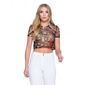 Hipster Plant Embroidered Cropped Mesh Top Short Sleeves