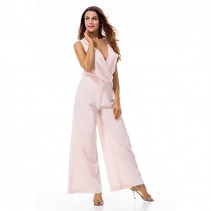 Exposed Back Deep V Neckline Pink Wide Leg Jumpsuit Ruched