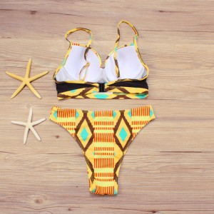 African Geometric Pattern Underwired 2PCS Bikini Set