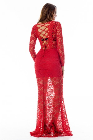 Incredible Lace Red Long Sleeve Evening Dress Lace Up