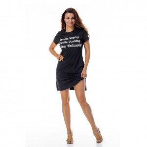 Short Sleeve Letter Black Round Neck Dress Side Slit
