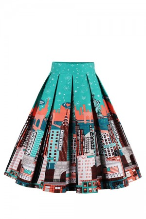 New York Architectures Print Pleat High Waisted Swing Skirt