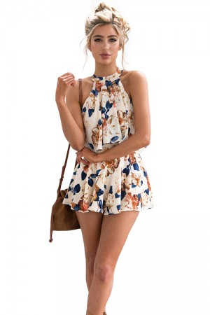 Fabulous Chiffon Flower Pattern Halter Two Piece Suit