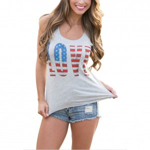 Casual Grey Love Letter USA Flag Tank Top Sleeveless