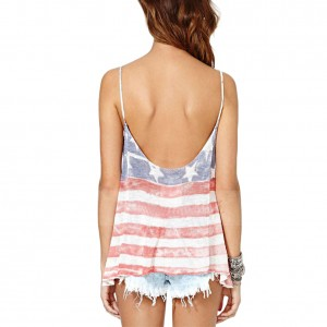 Distressed USA Flag Low Back Cami Top Blouse Slit Side