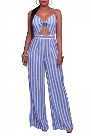 Light Blue Stripe Sleeveless Jumpsuit Front Cutout Slender Straps